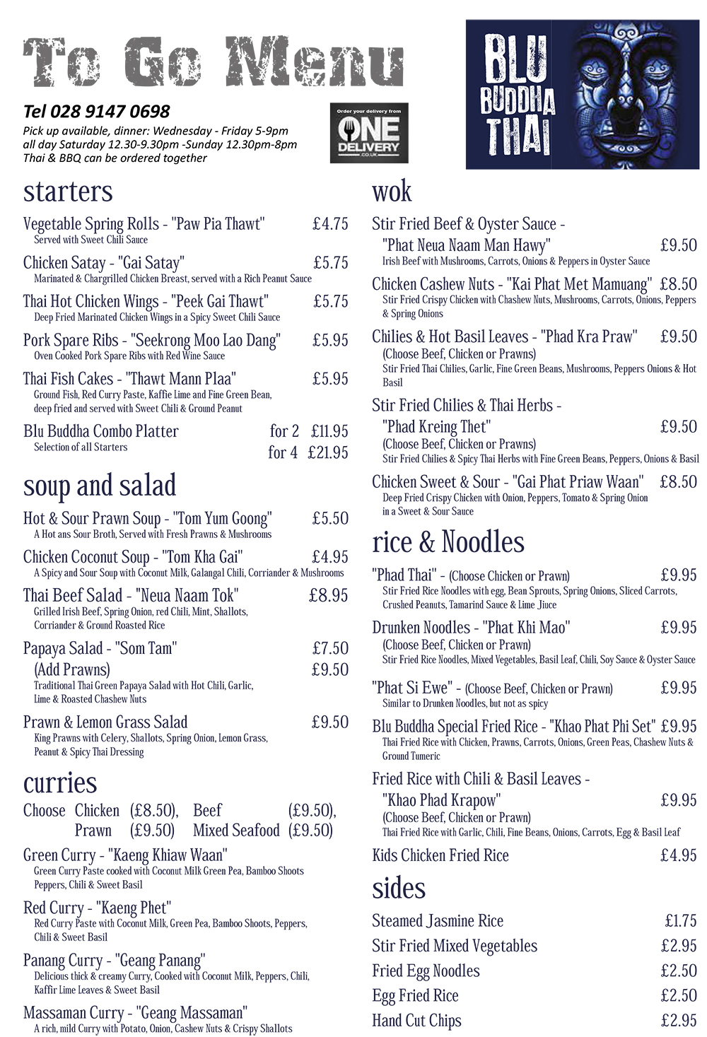 Blu Buddha Thai Takeaway Menu