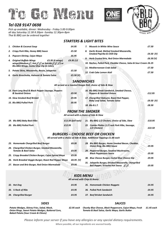 Blu BBQ takeaway menu